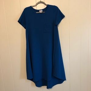 LULAROE Blue Textured Carly Dress Small